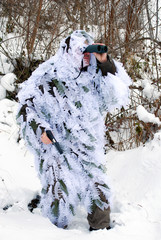 army recon in winter camouflage uniform