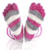 fuzzy pink toe socks with reflection isolated on white poster