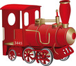 Children's toy red steam locomotive - 19599067
