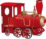 Children's toy red steam locomotive