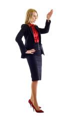 Happy business woman giving a speech