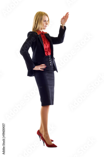 Happy business woman giving a speech