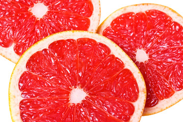 Pink juicy grapefruit slices