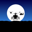 helicopter fly on moonlight - 19602257