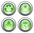 Set of 4 green environmental-themed 3d effect buttons
