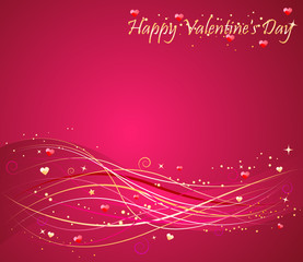 Valentine's day pink background with nice wave design