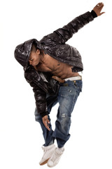 Stylish dance performance by black man