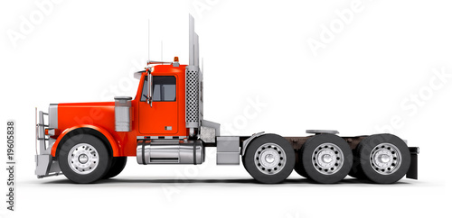 Side view of red heavy truck