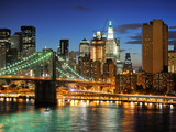 Fototapety New york Manhattan bridge after sunset