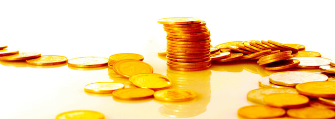 many gold coins on white background