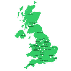 UK map with main towns and cities