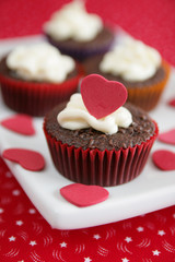 cakes with red heart