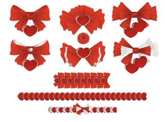 Set of bows with hearts for decoration