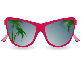Sun glasses with reflexion of palm trees. vector illustration