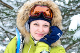 happy woman in ski sunglasses