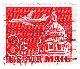 stamp printed in the USA - white house