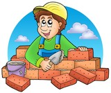 Cartoon bricklayer with clouds poster