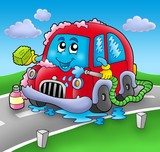Cartoon car wash on road-