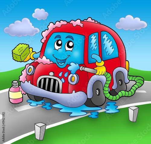cartoon car washing. Cartoon car wash on road