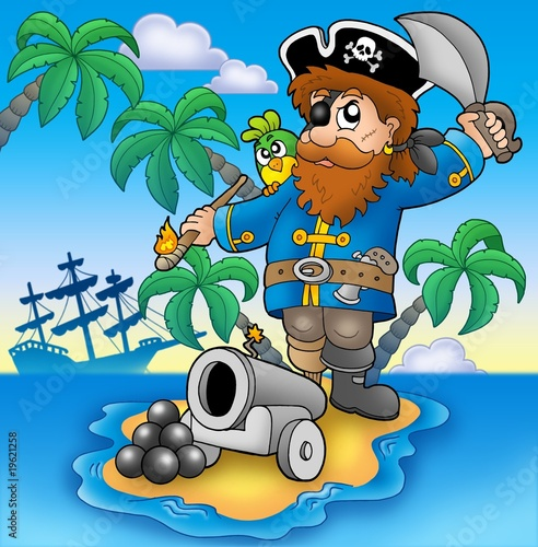 Deurstickers Piraten Pirate shooting from cannon