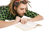 young dreadlock man reading book isolated poster
