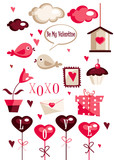 Fototapety Valentines day graphic elements vector illustration