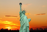New York City Skyline and The Statue of Liberty at Sunset - 19626627