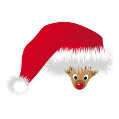 Rentier unter Weihnachtsmütze