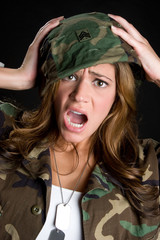 Shocked Military Woman