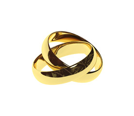 two isolated gold rings
