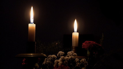 Christmas candles decoration with flowers