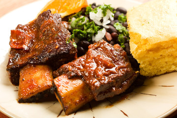 Braised Beef Ribs with Black Beans and Cornbread