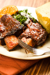 Braised Beef Ribs with Beans and Cornbread