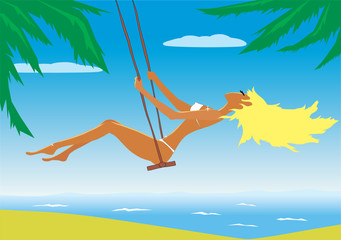 Illustration of the beach girl on a swing