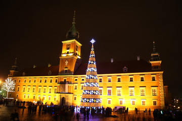 Castle Square view at night in the old town, Warsaw