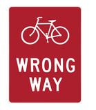 road sign - bike wrong way poster