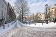 Amsterdam covered with snow in the Netherlands