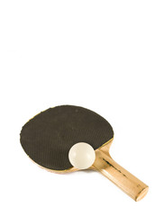 Table tennis racket with ping pong ball