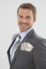Businessman with dollar notes
