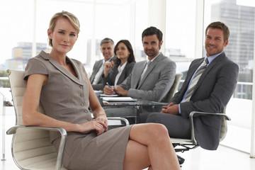 At a meeting