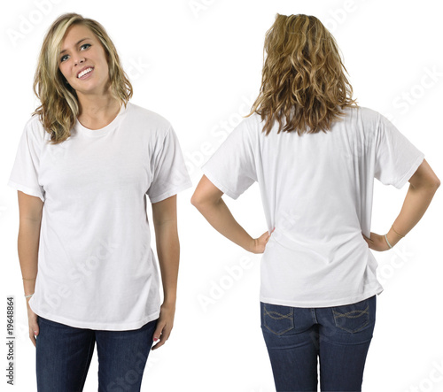 blank white shirt. Female with lank white shirt © sumnersgraphicsinc #19648864. Female with lank white shirt