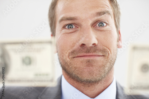 Funny man with dollars