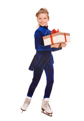 Girl in blue dress on skates with gift box. Isolated.