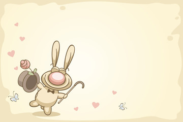 fun rabbit on Valentine's Day