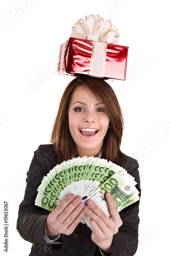 Business woman with money euro, red  gift box.