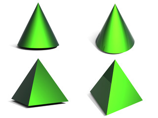 3d geometrical figure - green pyramid end cone