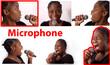 Jeune femme tient un micro chante avec émotion
