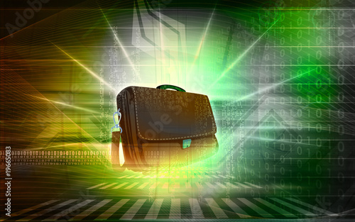 A brown leather bag on plane background