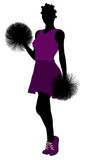 African American Cheerleader silhouette on a white background