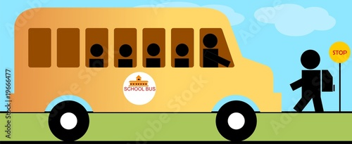 Illustration of school bus , boy and side symbol